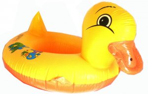 CHILDREN'S Inflatable Little Ducky Swimming Seat Boat w/Leg Holes