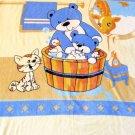 NEW Soft Baby Bear & Mama Cat Kid Children Infant Fleece Blanket Throw 48x60Blue
