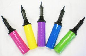 New Hand Held Dual Action Plastic Balloon Air Inflator Pump Party Favors 5Colors