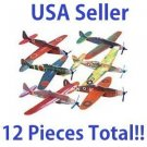 LOT of TWELVE Flying Foam Airplane Gliders 12 Assorted Planes Models WW2 Party !