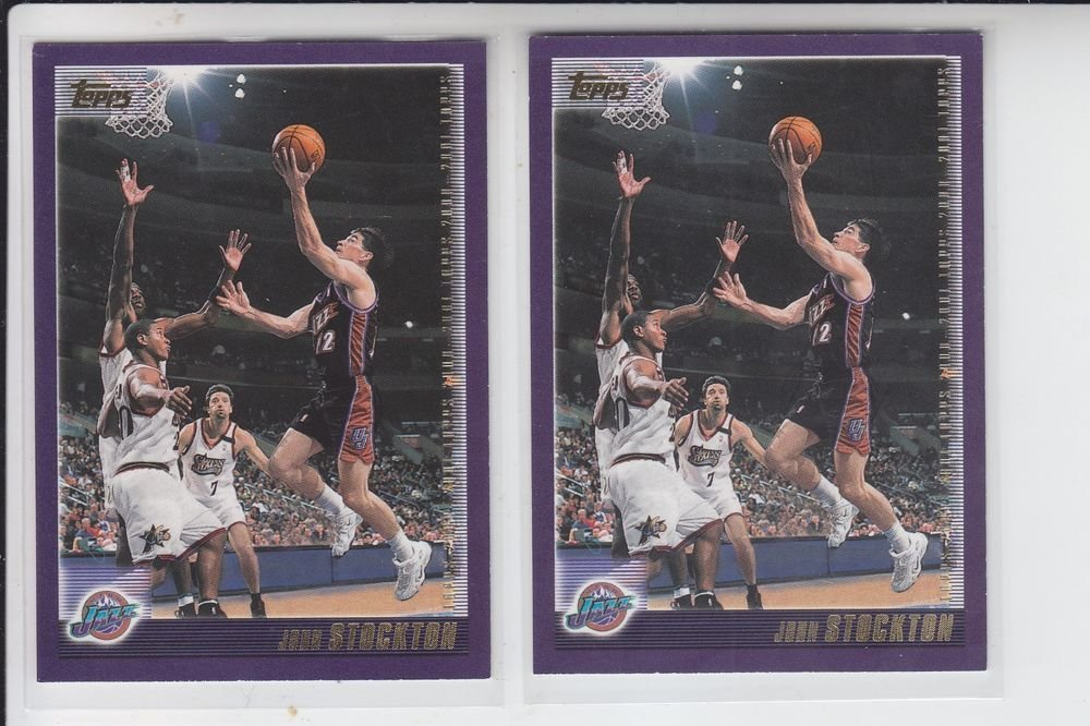 John Stockton Basketball Card Lot of (2) 2000-01 Topps #80 Jazz