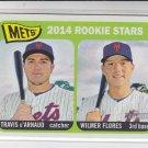 Travis D'Arnaud Wilmer Flores RC 2014 Topps Heritage #308 Mets
