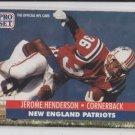 Jerome Henderson Football Rookie Card 1991 Pro Set #36 Patriots *BOB