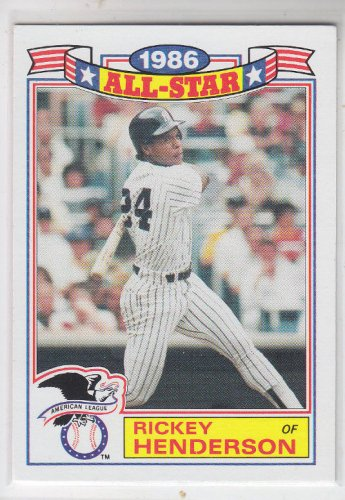 Rickey Henderson All Star Commemorative Card 1986 Topps #16 Yankees