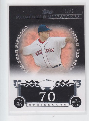 Jonathan Papelbon Black SP 2008 Topps Moments Milestones #44 14/25 70 Strikeouts