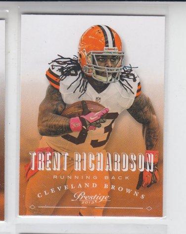 Trent Richardson Football Trading Card 2013 Panini Prestige #49 Browns
