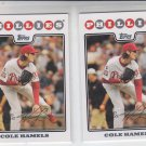 Cole Hamels Trading Card Lot of (2) 2008 Topps #35 Phillies