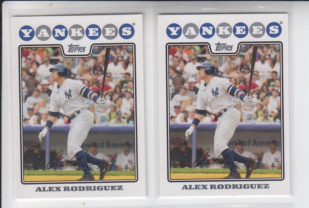 Alex Rodriguez Trading Card Lot of (2) 2008 Topps #1 Yankees