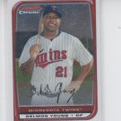 Delmon Young Baseball Trading Card 2008 Bowman Chrome #158 Twins