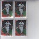 David Ortiz Baseball Trading Card Lot of (4) 2010 Topps Chrome #128 Red Sox