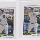 Max Scherzer Trading Card Lot of (2) 2014 Topps Mini Exclusives #257 Tigers
