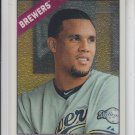Carlos Gomez Chrome Parallel 2015 Topps Heritage 482 Brewers 882/999