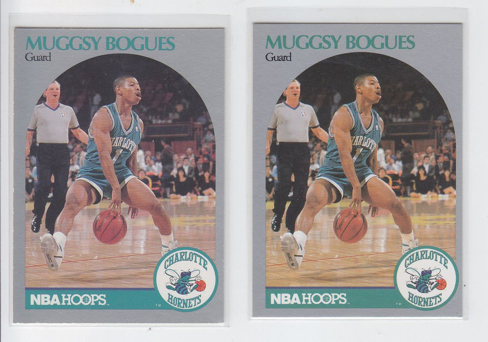 Muggsy Bogues Trading Card Lot of (2) 1990-91 Hoops #50 Hornets NMMT