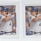 Ryan Wheeler Trading Card Lot (2) 2014 Topps Mini #352 Rockies