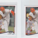 Cliff Lee Trading Card Lot of (2) 2014 Topps Mini #629 Phillies