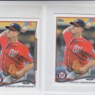 Jordan Zimmerman Trading Card Lot of (2) 2014 Topps Mini #107 Nationals