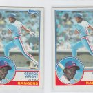 George Wright RC Trading Card Lot of (2) 1983 Topps #299 Rangers NMT
