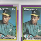 Rickey Henderson Trading Card Lot of (2) 1990 Topps #450 Atheltics