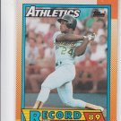 Rickey Henderson Trading Card Single 1990 Topps #7 Athletics Record Breaker