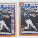 Ryne Sandberg Trading Card Lot of (2) 1990 Topps #398 Cubs All Star
