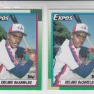 Delino Deshields RC Trading Card Lot of (2) 1990 Topps #224 Expos