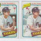 Alan Trammell Trading card Lot of (2) 1980 Topps #237 Tigers EX+
