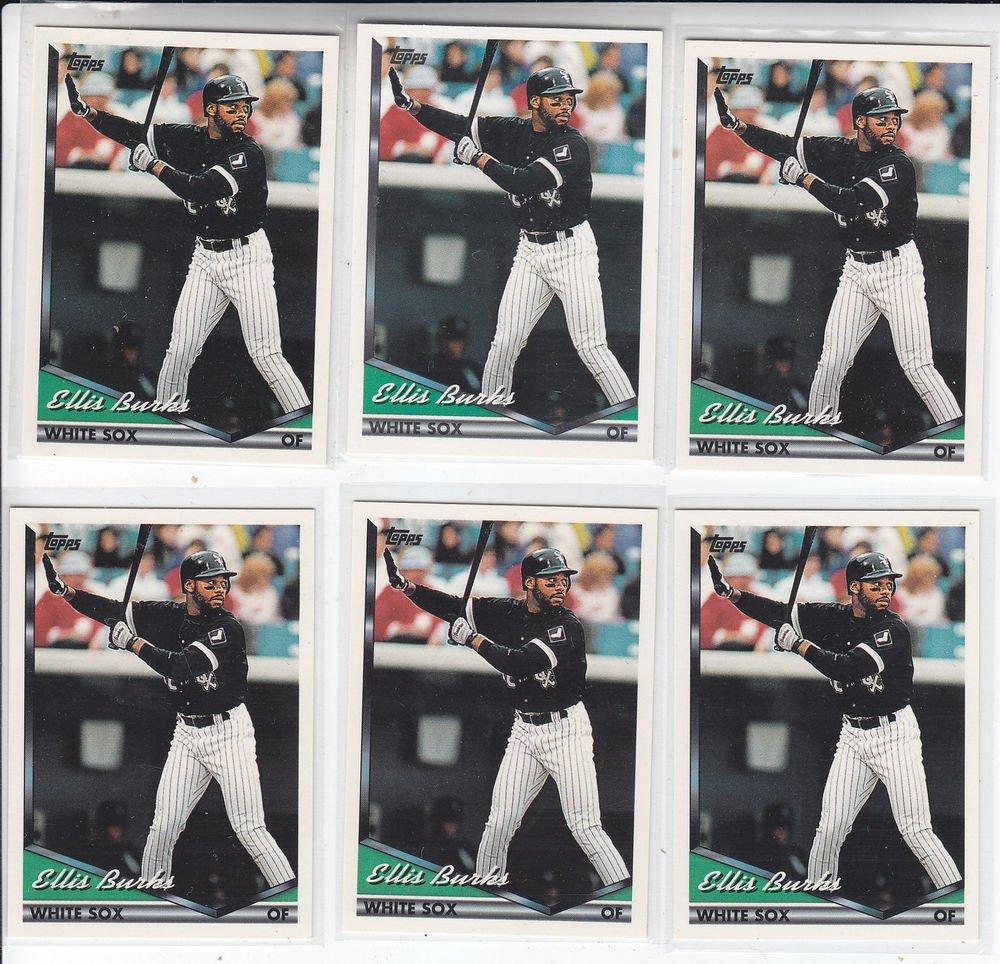 Ellis Burks Trading Card Lot of (6) 1994 Topps #538 White Sox