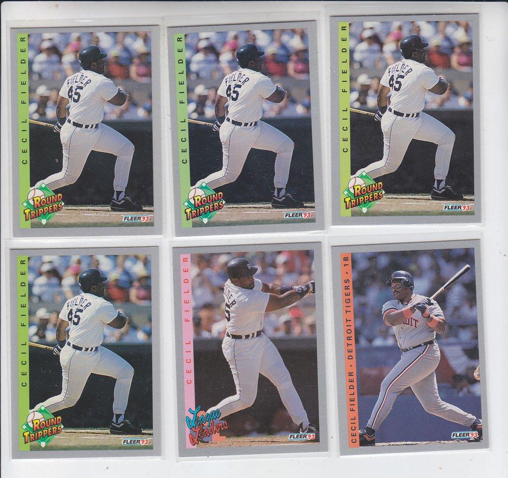 Cecil Fielder Trading Card Lot of (6) 1993 Fleer #227 #345 #711 x4 Tigers