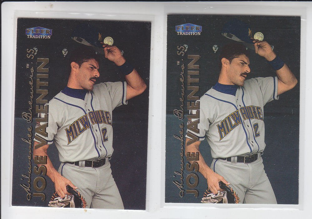Jose Valentin Trading Card Lot of (2) 1999 Fleer Tradition #464 Brewers
