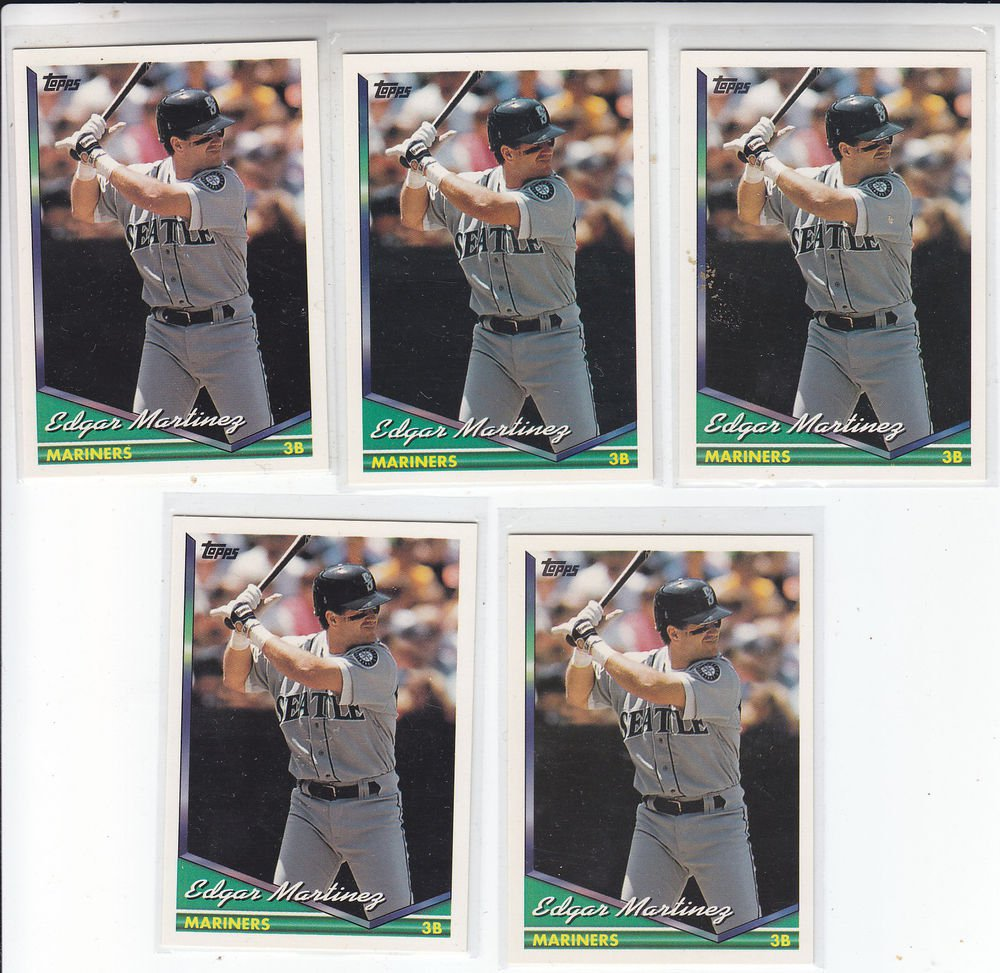Edgar Martinez Trading Card Lot of (5) 1994 Topps #195 Mariners