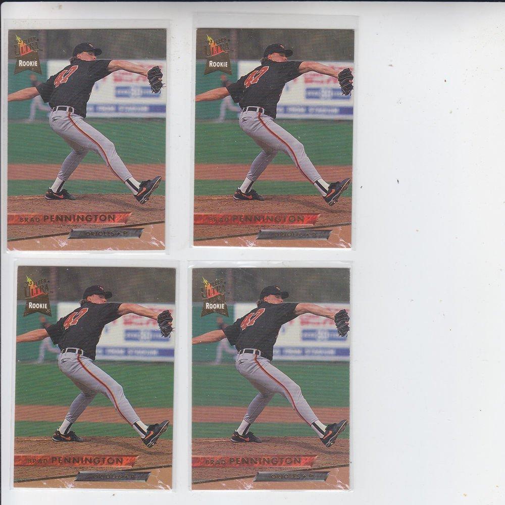 Brad Pennington Trading Card Lot of (4) 1993 Fleer Ultra #498 Orioles