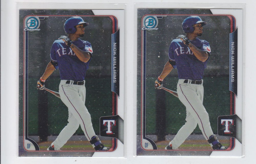 Nick Williams Lot of (2) 2015 Bowman Chrome #BCP107 Rangers
