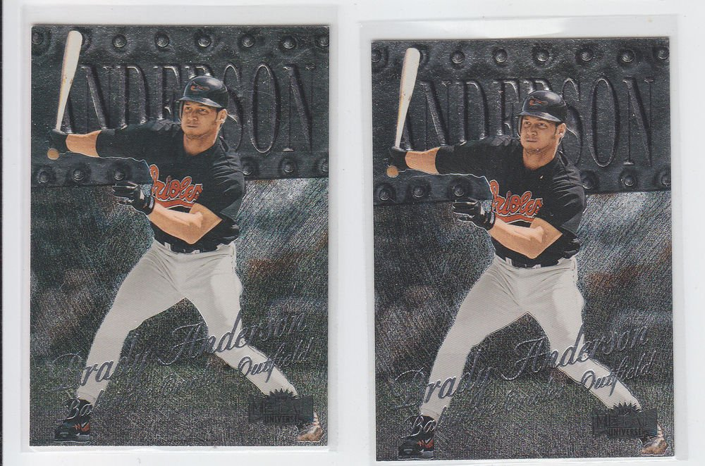 Brady Anderson Trading Card Lot of (2) 1999 Skybox Metal Universe #135 Orioles