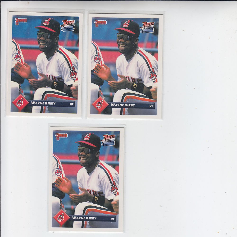 Wayne Kirby Rated Rookie RC Trading Card Lot of (3) 1993 Donruss #380 Indians