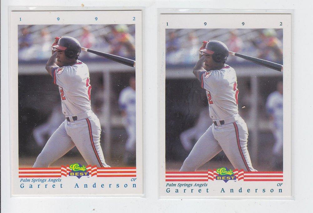 Garrett Anderson RC Trading Card Lot of (2) 1992 Classic/Best #209 Angels