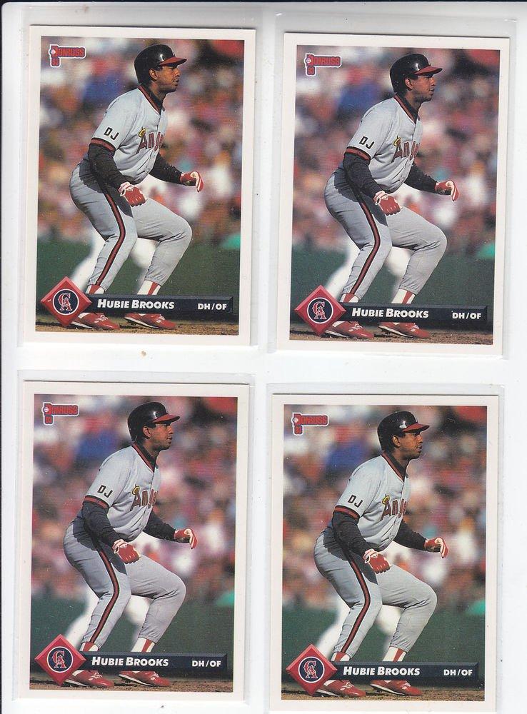 Hubie Brooks Trading Card Lot of (4) 1993 Donruss #563 Angels