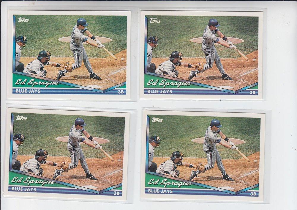 Ed Sprague Trading Card Lot of (4) 1994 Topps #426 Blue Jays