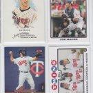 Joe Mauer Lot of (4) 2008 Topps #33 #287, 08 A&G #66 & 06 Ultra #163 Twins