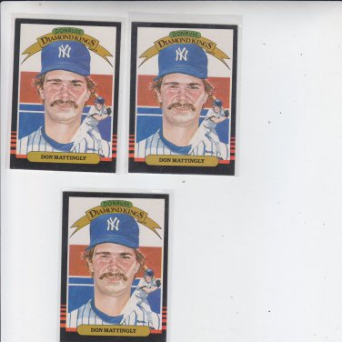 Don Maattingly Diamond Kings Lot of (3) 1985 Donruss #7 NMT Corners *BILL
