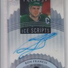 Ron Francis Ice Scripts Acetate Auto 2014-15 UD Trilogy #ISRF Whalers