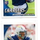 Ryan Mathews RC Trading Card Lot of (2) 2010 Topps #403 Chargers