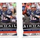 Tom Brady Airmail Trading Card Lot of (2) 2013 Score #239 Patriots
