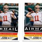 Alex Smith Airmail Trading Card Lot of (2) 2013 Score #236 Chiefs