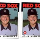 John McNamara Trading Card Lot of (2) 1986 Topps 771 Red Sox MGR