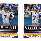 Christian Ponder Airmail Trading Card Lot of (2) 2013 Score #238 Vikings