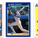Andre Dawson Trading Card Lot of (3) 1988 Topps #401 #500 1991 Score #445 Cubs