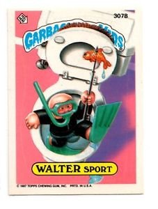 Walter Sport Sticker Trading Card 1987 Topps Garbage Pail Kids #307B EX+