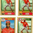 Ozzie Smith Trading Card Lot of (4) 1987 Topps #749 x3 & #598 x1 Cardinals