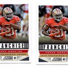 Frank Gore Franchise Trading Card Lot of (2) 2013 Score #294 49ers