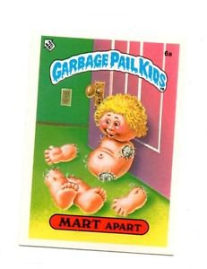 Mart Apart License Back Sticker Card 1985 Topps Garbage Pail Kids UK Mini #6a